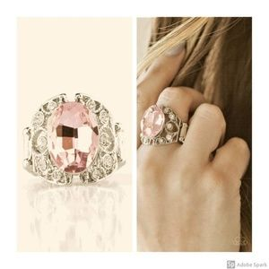 Queen of Hustle Faceted Pink & BLING Stretch Ring